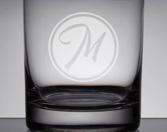Engraved Rocks Glass, Monogram Whiskey Glass, Custom Bourbon Glass, Monogram Groomsman Glass, Gifts for Groomsmen, Circle Monogram, Etched