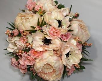 Everlasting Bridal Bouquet, Peonies, Anenomes, Hydrangea, Garden Roses, Berries
