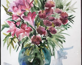 Watercolor Painting 'Red Flowers'