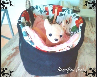 Dog bag, basket, velour, cotton, fleece, flowers, big
