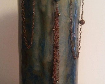 Hand built pottery vase with chain & beads