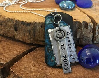 Sobriety Recovery Alcoholics Anonymous Custom Anniversary Hand Stamped Necklace