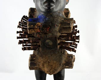 Rare YOMBE nkisi NAIL FETISH ritual object, unique african tribal art Congo, authentic collectible, interior homedecor ethnological vintage