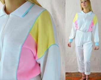 Vintage 90s Pastel Pink // White Cotton Sweatsuit Jogger ~ JULIE GIRL~  Jogger Jumpsuit Romper Medium