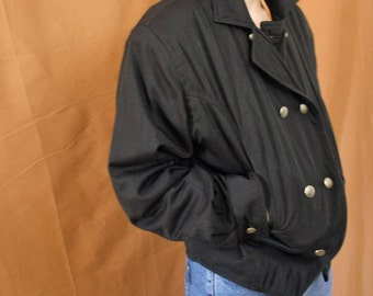 Vintage 1980s Double Breasted Black Cotton Jacket size XS-M
