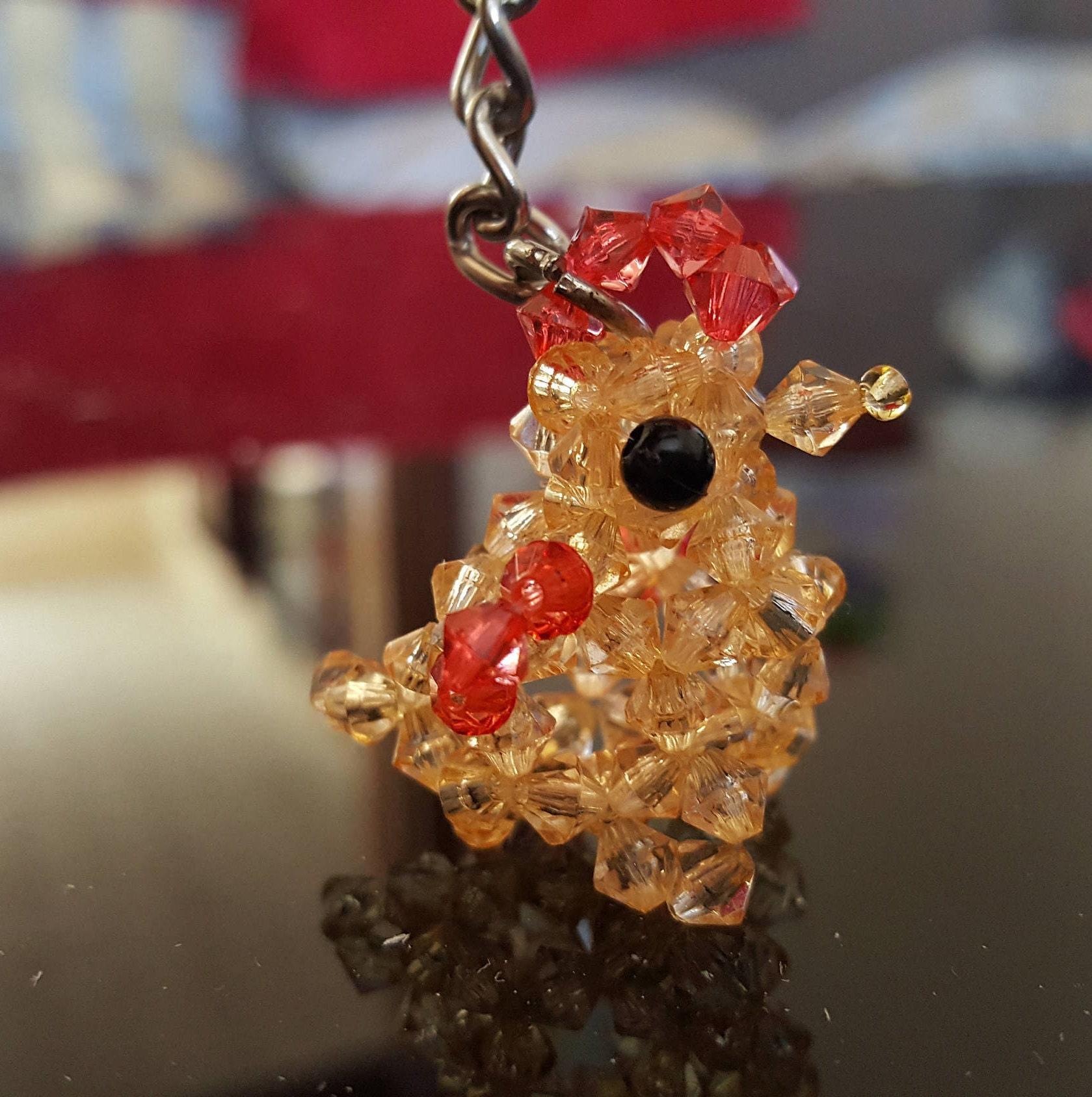 cute hen chicken keyring keychain mini beaded figure