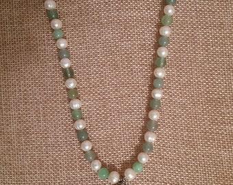 Green Aventurine, fresh water Pearls Necklace