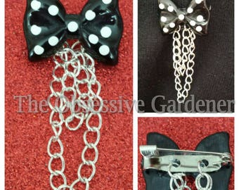 Black and White Polka Dot Brooch with Chain Unusual