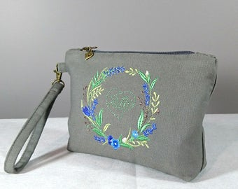 Grey clutch bag Embroidered clutch with floral wreath Fabric clutch purse Elegance wristlet clutch Gift for her
