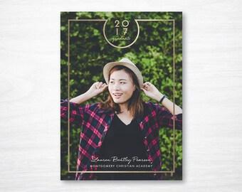 Graduation Announcement - Simple Grad Announcement - Faux Foil - High School Graduation - College Graduation - Printable - Printed Card