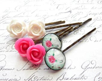 Pink, White, Mint Green Flower Swan Bobby Pin Set - Flower Hair Pins -  Vintage Style Hair Accessories