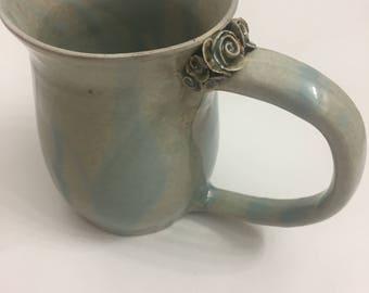 Ceramic Rose Mug, Baby Blue 2