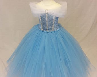 Princess dress, Flower girl dress, bridesmaid dress, pageant gown, blue dress, Princess aurora