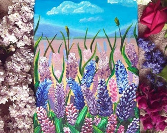Flowers | Blooming field | Original French Art | Acrylic Painting | Rustic Wall Art | Сute Painting | Floral painting |