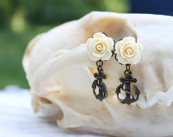 Nautical Anchor Dangle Stud Earrings