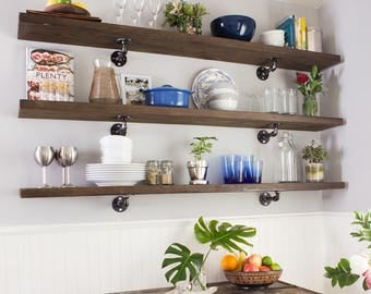 Rustic Industrial Wood Shelf