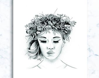 Pencil and ink illustration, girls series - 'Daisy'