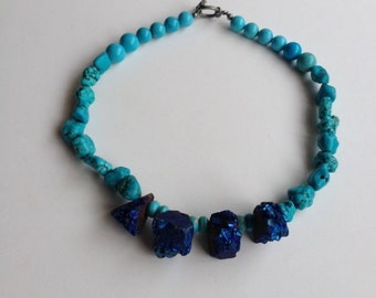 Hand made turquoise,azonite 18 inches necklace