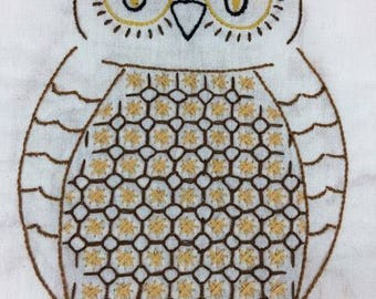 Hand embroidered owl table runner