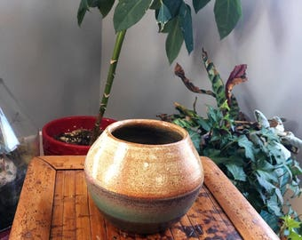 Brown, gray, and green hand thrown vase