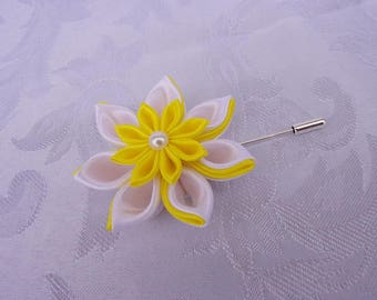 Buttonhole for marriage with kanzashi satin yellow and white/Wedding StromVG pine flower
