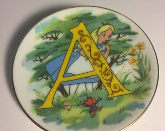 "Disney Letter A for Alice in Wonderland Miniature Porcelain Plate—Vintage, Part of the ""Disney's Alphabet"" Collection—1980s"