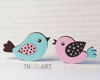 Lovely singing bird wooden Brooch/ handmade jewelry pin cute spring flying bird happy sing song wood lovely brooch hand painted blue rose