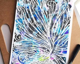 "Original Watercolor Painting - Handlettered -  Drops of Jupiter -  Galaxy Hair  9x12"""