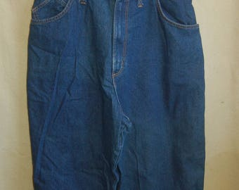 Vintage Women's Jeans with Short Bib Front and 'Suspenders' - size 16
