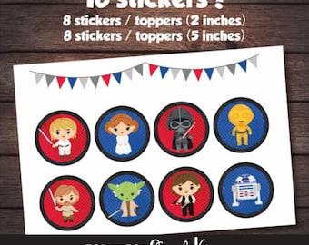 Star Wars Stickers, Starwars Party, Star Wars Birthday, Star Wars Cake Topper, Star Wars Decal, Star Wars Printable