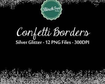 Digital Glitter Borders - Confetti Silver Metallic Clipart - Invitation - Scrapbooking - Christmas Decoration - Paper - Silver Border