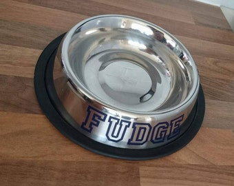 Personalised dog cat bowl vinyl