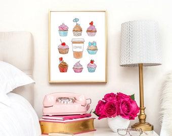 Cupcake art Instant download Cupcake download Cupcake digital Cupcake art print Coffee printable Coffee lover gift Bakery art Kitchen art