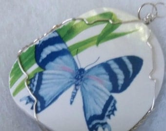 Blue butterfly ceramic china pendant silver wire wrapped
