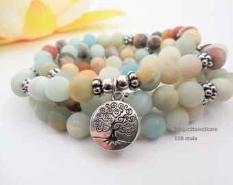 amazonite mala yoga mala meditation mala 108 mala bracelet tree of life mala charm mala healing mala zen mala spiritual mala 108 mala beads