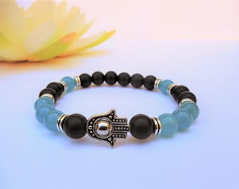 protection hamsa bracelet hamsa hand bracelet gemstone hamsa jewelry good luck bracelet aquamarine bracelet protection talisman bracelet