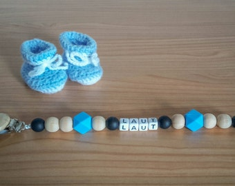 Blue pacifier cord with name