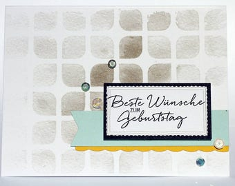 Greeting card with set of picturesque greetings from Stampin up birthday card - best wishes to the birthday stamp