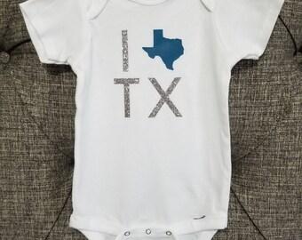 I Love Texas Onesie, TX onesie, Cute festive onesie, Baby shower gift