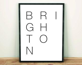 Brighton, Typography, Minimal Art Print
