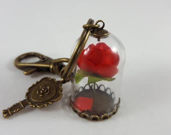 Beauty and the Beast Keychain - Enchanted Rose Key chain - Cosplay - Belle Party - Belle Keychain - Rose Vial Keychain