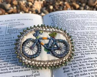 Bead Embroidered Fabric Bicycle Brooch