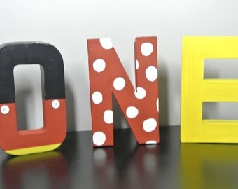 Mickey Mouse, First Birthday Letter, 8in Letter,Photo Prop, Letters (A-Z)