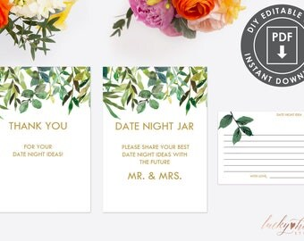 Date Night Jar | Instant Download Bridal Shower Date Idea Cards | Printable Advice Card Template | Date Night Cards | Bridal Shower PDF 004