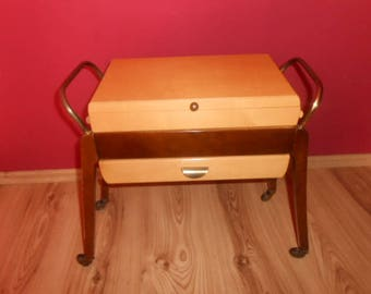 Vintage mid century sewing box sewing table on roll 50's