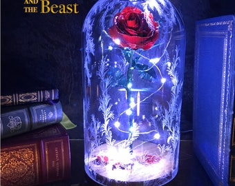 Beauty and the Beast Rose Dome, Preserved Rose, Metal Rose, Disney, Enchanted Rose, Handmade rose with LED Lights