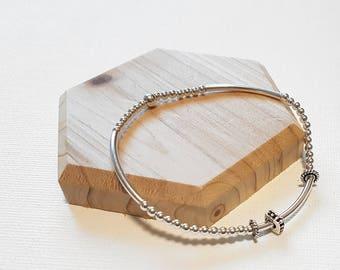 925 Sterling Silver Beads Stretch bracelet, Layered Bracelet, Silver Bead bracelet, Stretch Bracelet.