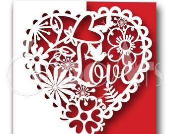 Valentine's Love Heart Floral Card Digital Cut Files Svg Dfx Eps Png - Silhouette SCAL Cricut Printable Vector Download Die Cutting JB-119