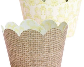 Burlap and Lace Cupcake Wrappers, Rustic Wedding Decorations, Country Chic Party Supplies, 36 Cupcake Wraps