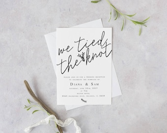 We Tied the Knot Elopement Wedding Reception Template DIY Wedding Template Modern Invitation Template Elopement invitation